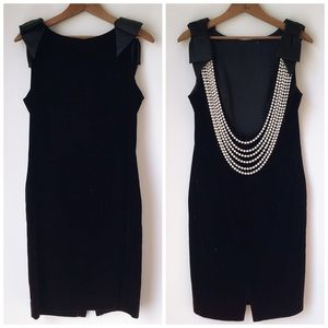Vintage Velvet Backless Draped Pearls Party Dress